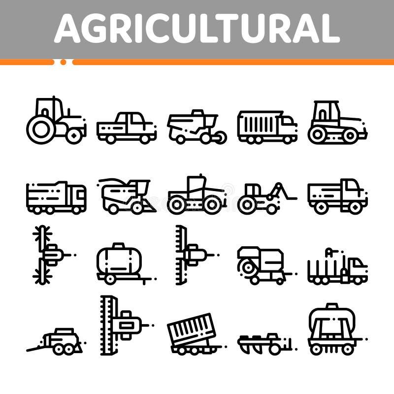Landwirtschaftlicher Fahrzeug-Vektor-dünne Linie Ikonen-Satz lizenzfreie abbildung