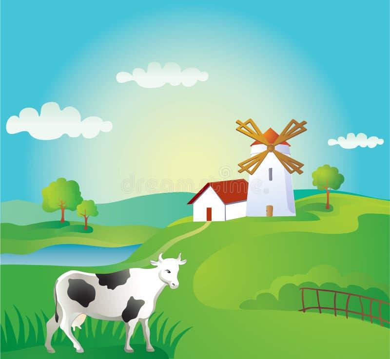 Landwirtschaftlicher Hintergrund mit Kuh lizenzfreie abbildung