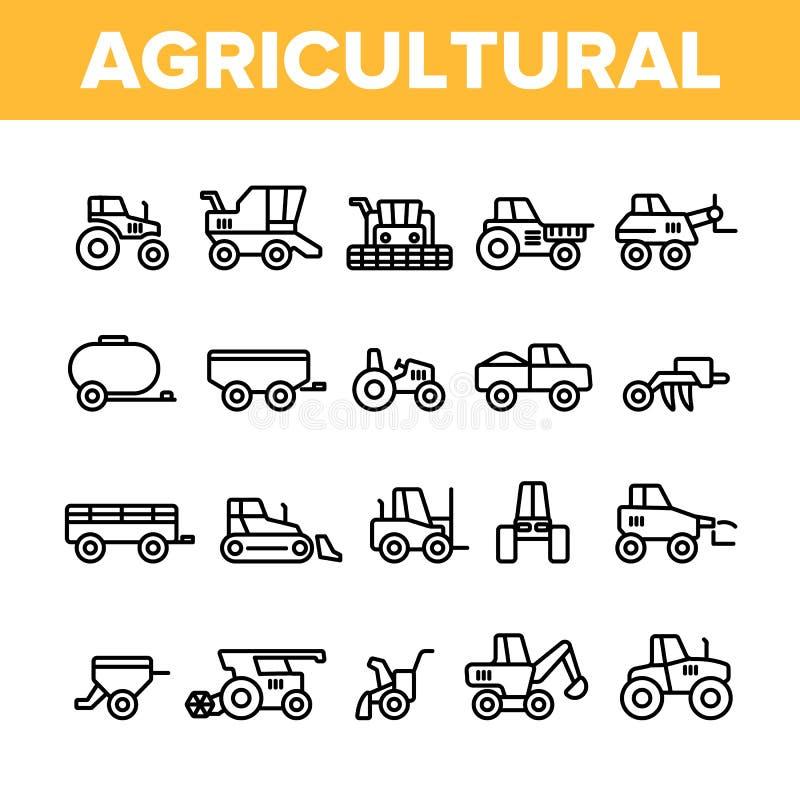 Landwirtschaftlicher Schwermaschinen-Vektor-linearer Ikonen-Satz lizenzfreie abbildung