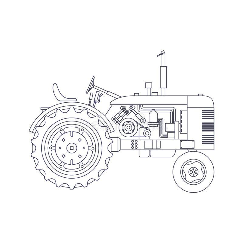 Landwirtschaftlicher Traktor der Weinlese lokalisiert auf wei?em vackground Vektor vektor abbildung