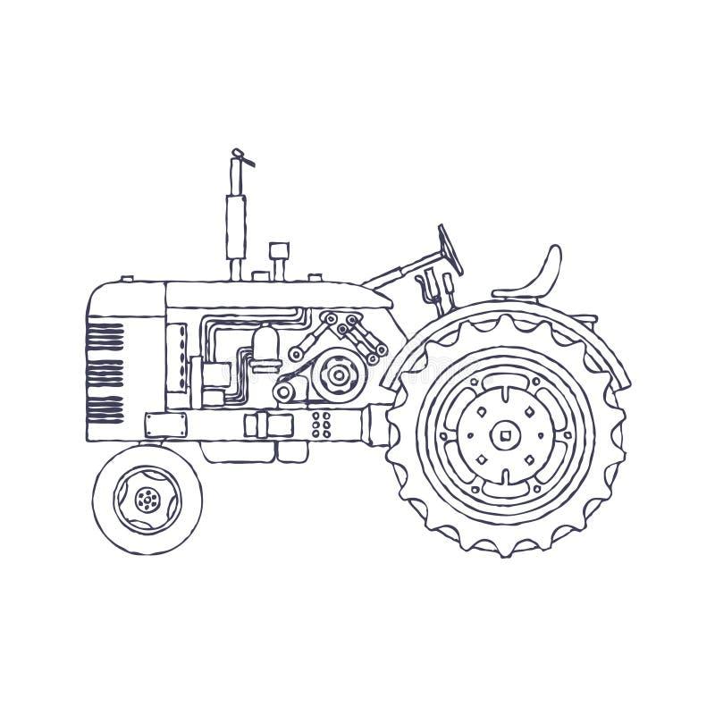 Landwirtschaftlicher Traktor der Weinlese lokalisiert auf wei?em vackground Vektor stock abbildung