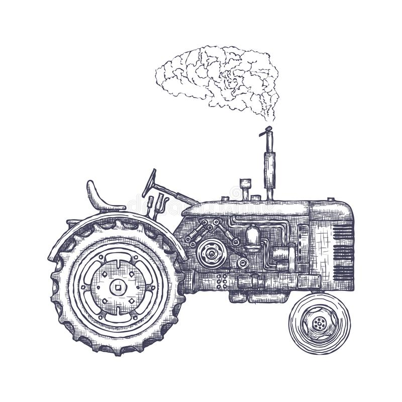 Landwirtschaftlicher Traktor der Weinlese, Skizze Hand gezeichneter Vektor vektor abbildung