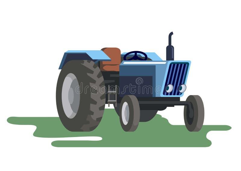 Landwirtschaftlicher Traktor des Rades Farbige Vektorillustration auf Weiß vektor abbildung