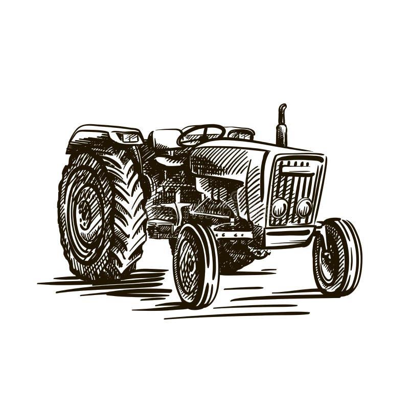 Landwirtschaftlicher Traktor des Rades Vektor-Skizze auf Weiß stock abbildung