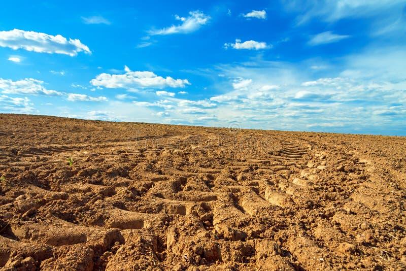 Landwirtschaftsackerlandfeld im Frühjahr für Ernten lizenzfreie stockbilder
