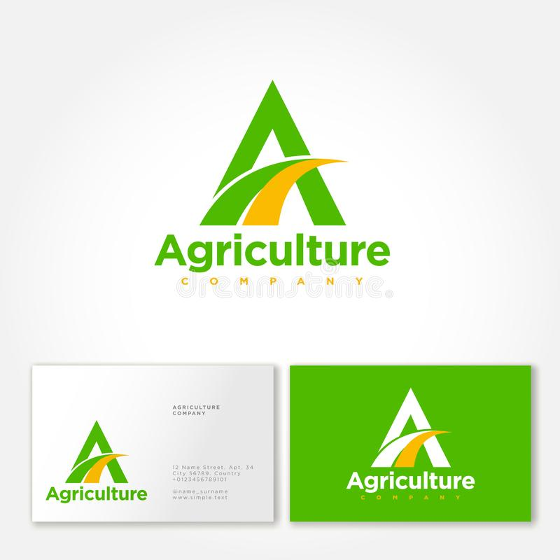 Landwirtschaftsfirmenlogo Ein Monogramm mit Feldsymbol Organisches frische Nahrungsmittelemblem vektor abbildung