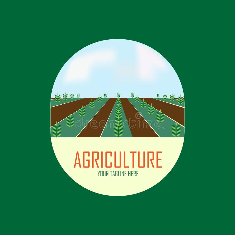 Landwirtschaftslogoentwurf mit Baum vektor abbildung