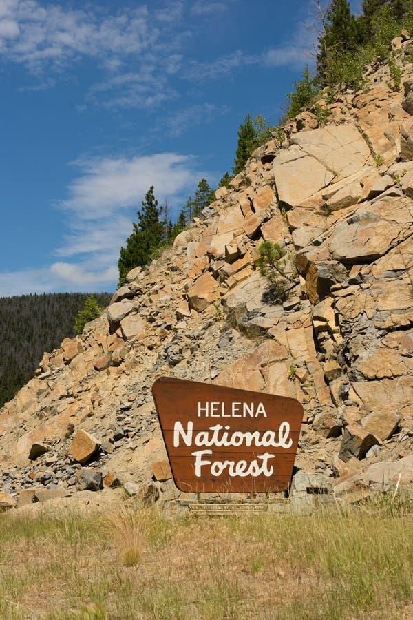 Landwirtschaftsministerium Helena National Forest Signs US lizenzfreies stockfoto