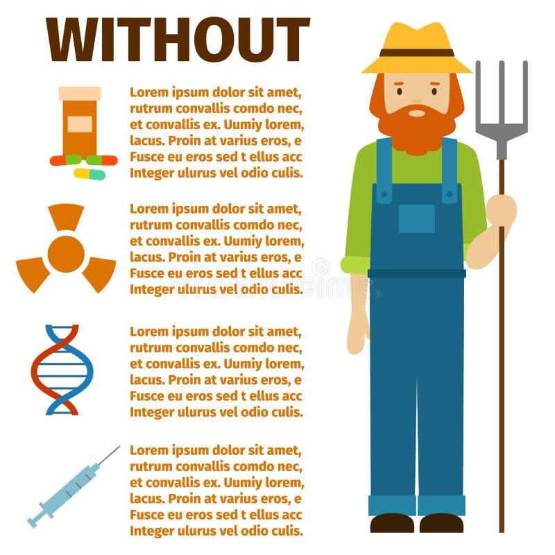 Landwirtschaftspersonenbauernhofberufs des Landwirtcharaktermannes Gärtner-Arbeitskraftleute des infographic vector ländliche Ill lizenzfreie abbildung