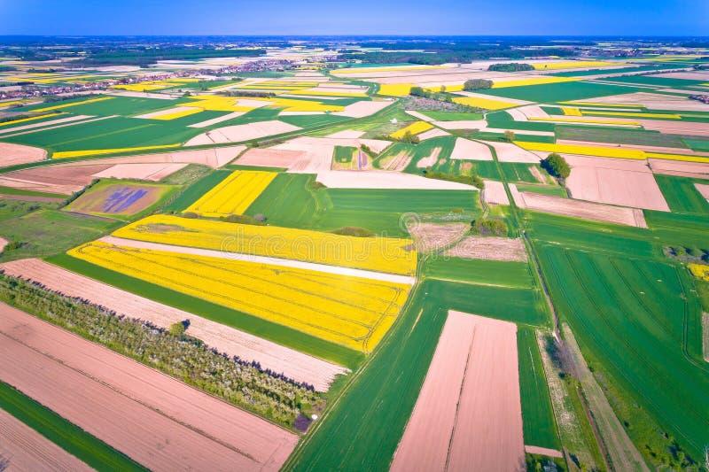 Landwirtschaftsschichten der Podravina-Regionsvogelperspektive lizenzfreie stockfotografie