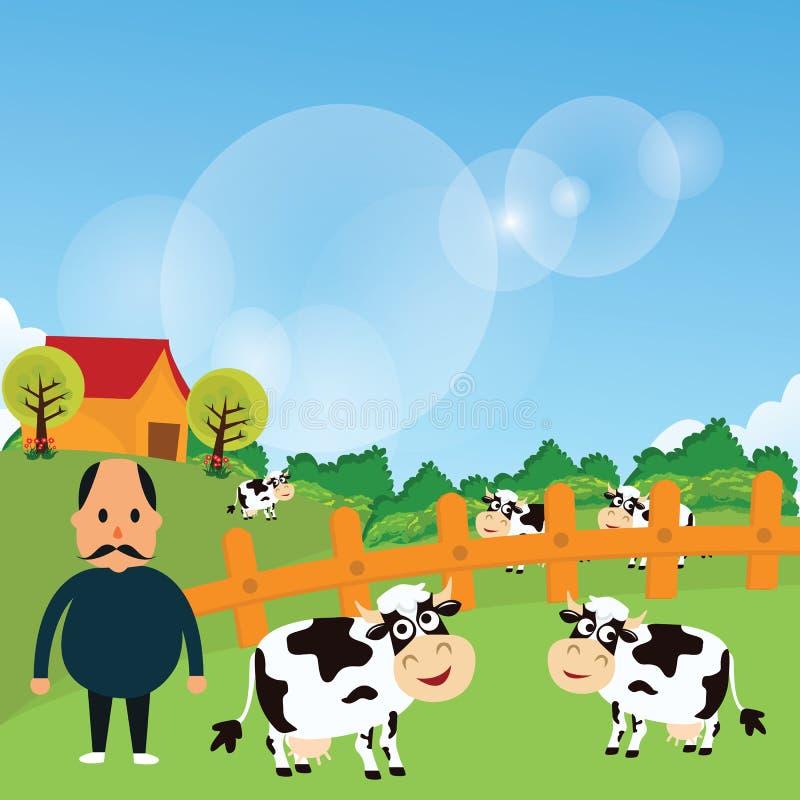 Landwirtstand mit seinem Bauernhofkuhvieh essen Gras in der grünen Feldkarikaturvektor-Zeichnungsillustration vektor abbildung