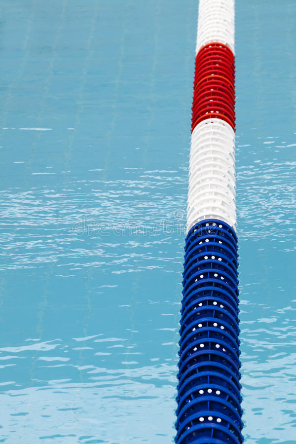 Lane divider, pool marker lines. Blue clean water royalty free stock images