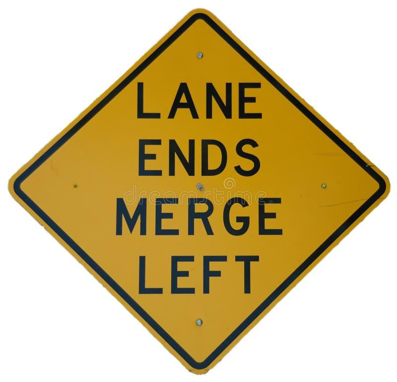 Lane Ends Merge Left Stock Images