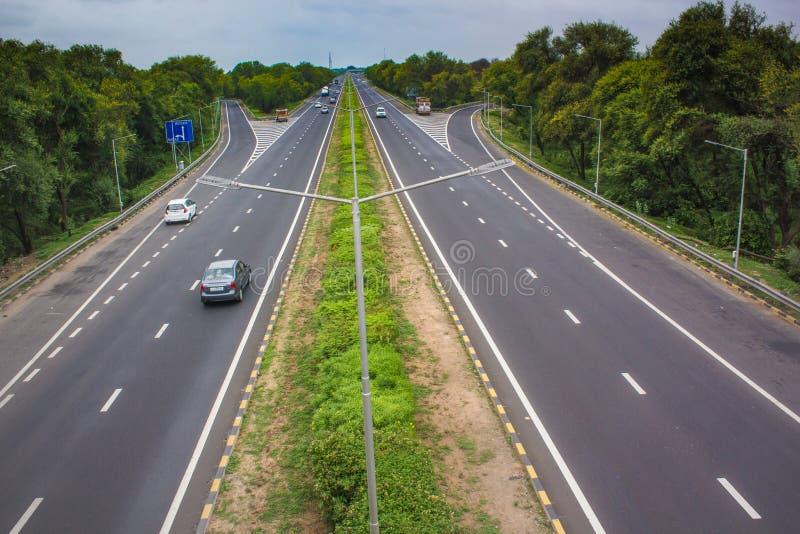 6 lane Expressway. Mahatma Gandhi (Ahmedabad-Vadodara 6 lane expressway) India stock photo