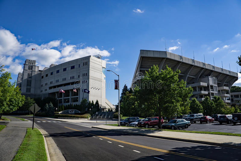 Lane Stadium, Blacksburg, Virginia, USA. Blacksburg, VA – August 5th: A view of Lane Stadium, home of Virginia Tech Football Team located on the campus of royalty free stock images