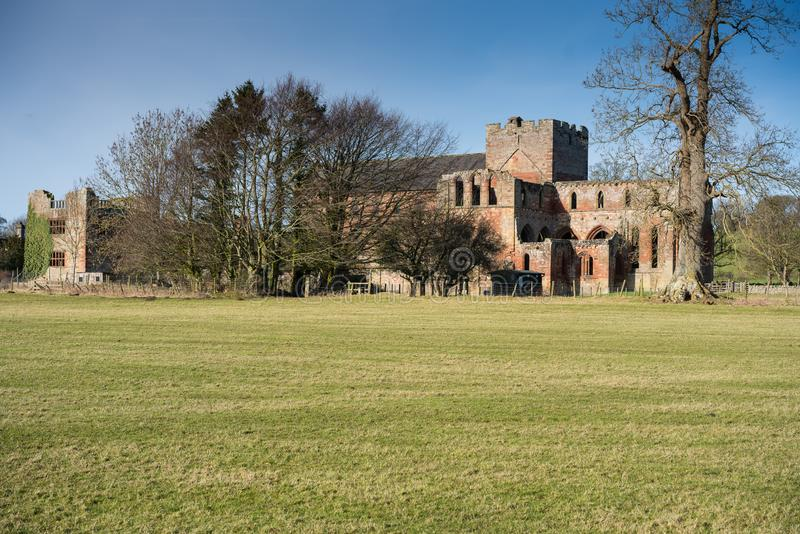 Lanercost Priory. Was founded by Robert de Vaux between 1165 and 1174, to house Augustinian Canons. It is situated at the village of Lanercost, Cumbria, England stock photo
