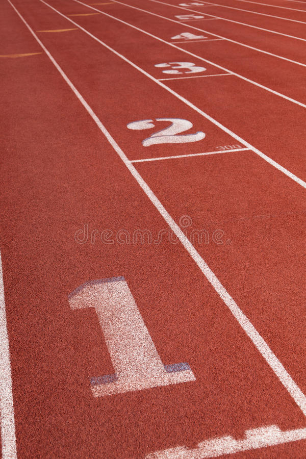 Download Lanes On A Athletic Running Track With The Number Stock Image - Image of rubber, race: 26366859