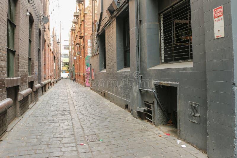 Laneway cobble-gestenigd Melbourne stock foto