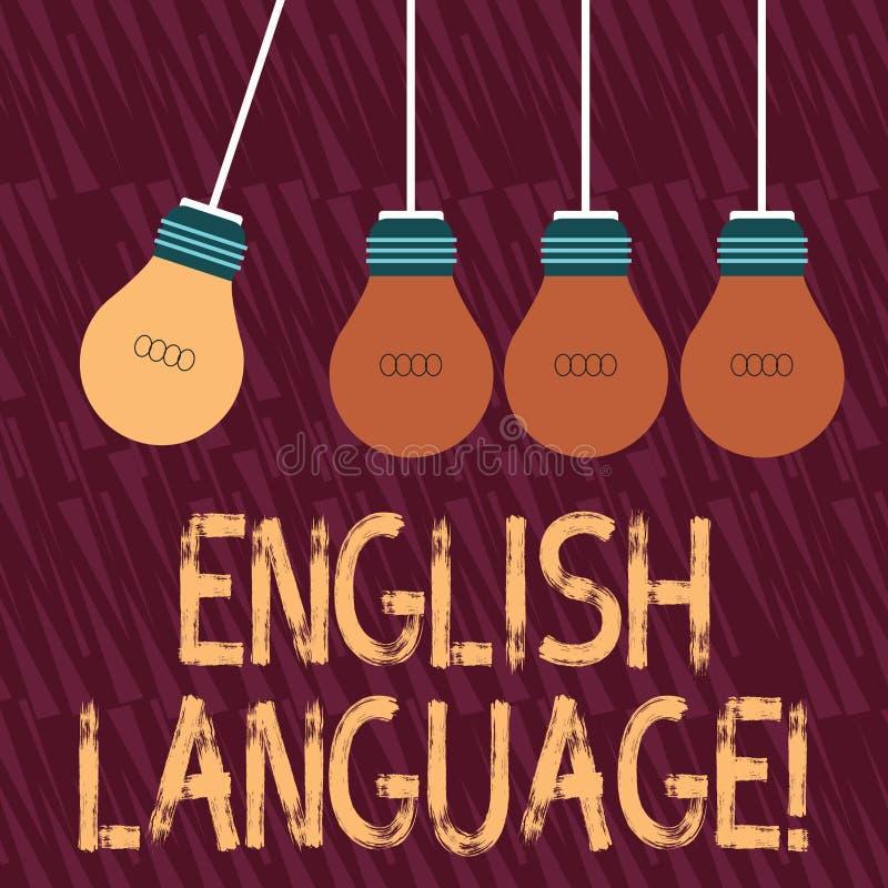 Знак текста показывая английский язык Lang схематического фото третье поговоренное родное в мире после китайского и испанского цв иллюстрация штока