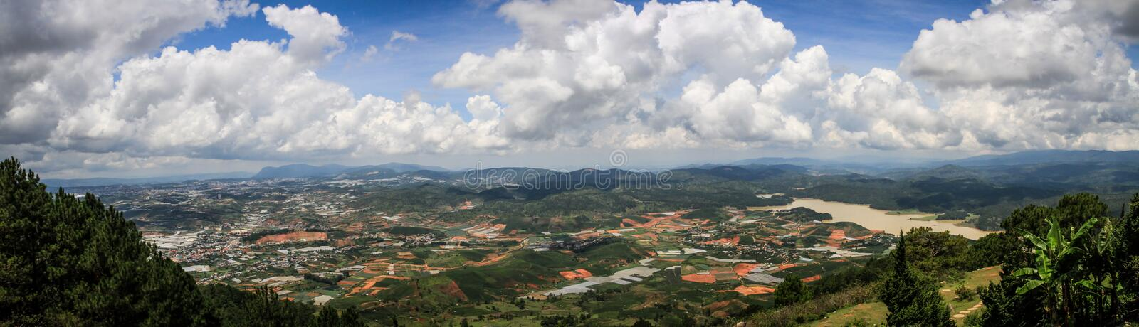 Panorama on the surrounding countryside from the Lang Biang Mountain, Lam Province, Vietnam stock images