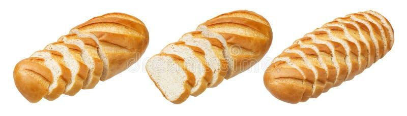 Lang brood Gesneden wit die brood op witte achtergrond wordt geïsoleerd royalty-vrije stock afbeeldingen