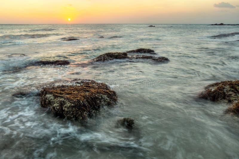 Lang die blootstellingsschot van rotsen met algen en overzees onkruid worden behandeld niet stock afbeelding