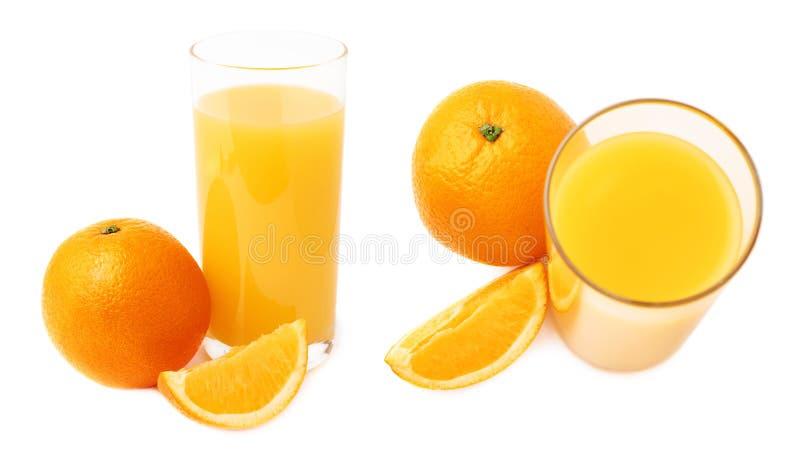 Lang die glas met het jus d'orange en de vruchten, samenstelling over de witte achtergrond, reeks wordt geïsoleerd van verschille stock foto's