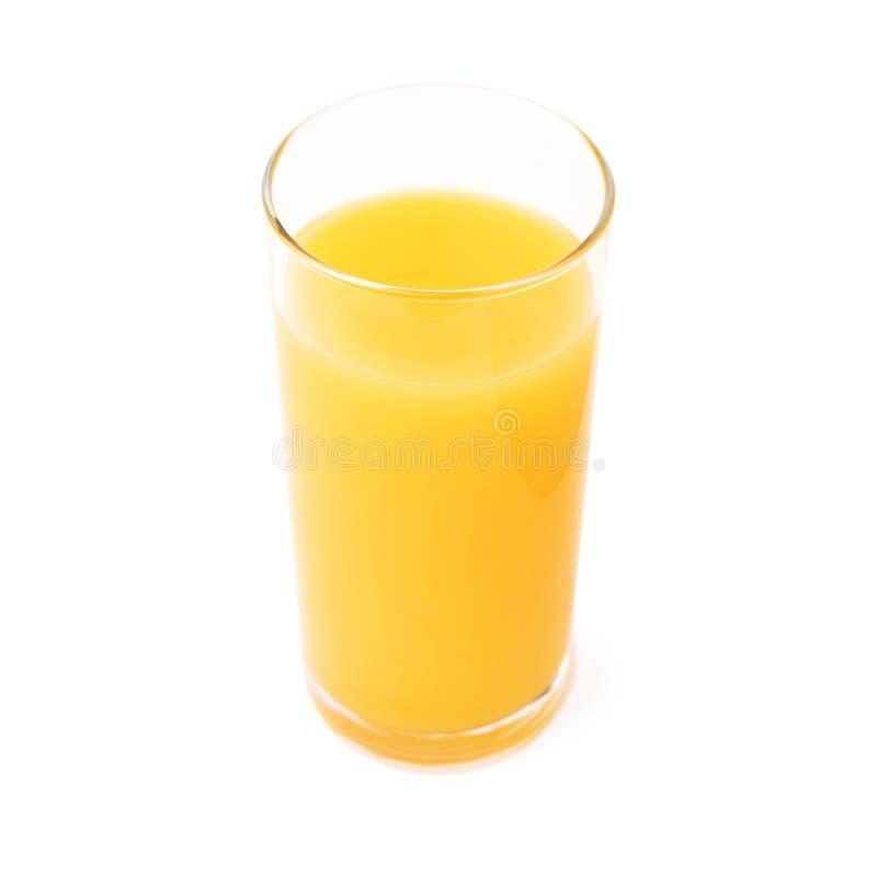 Lang die glas met het jus d'orange over wordt geïsoleerd royalty-vrije stock foto