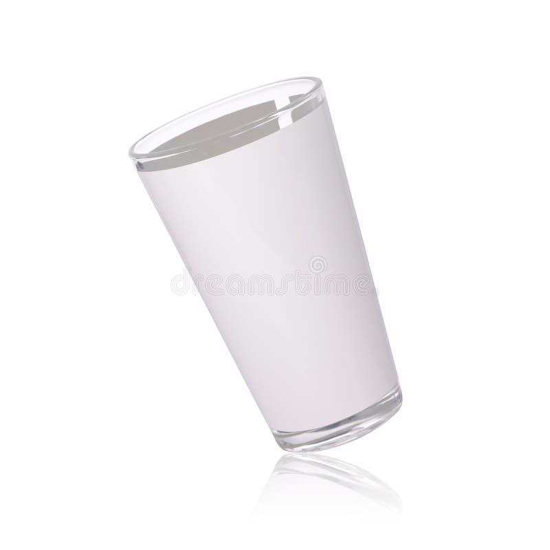 Lang die glas op witte achtergrond wordt ge?soleerd Transparant drankmok of glaswerk voor uw ontwerp Knippende wegen of verwijder royalty-vrije stock afbeeldingen