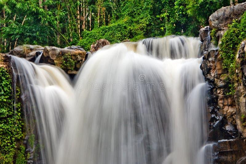 Lang--exposured Foto des Waldwasserfalls lizenzfreie stockfotografie