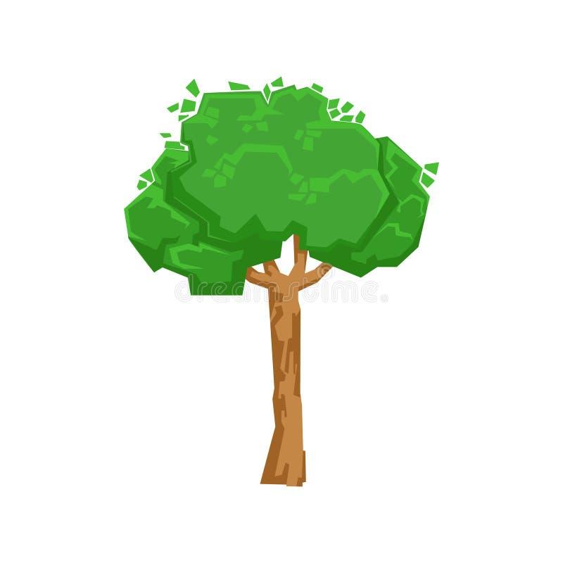 Lang Groen het Ontwerpelement van het Lindeboom Natuurlijk Landschap, een Deel van Landschap in Aard Modellerende Aannemer royalty-vrije illustratie