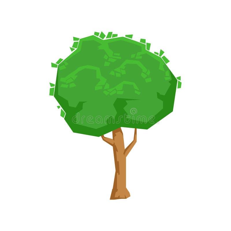 Lang Groen het Ontwerpelement van het Lindeboom Natuurlijk Landschap, een Deel van Landschap in Aard Modellerende Aannemer vector illustratie