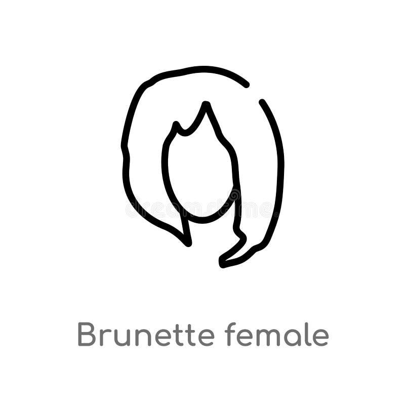 lang het haar vectorpictogram van de overzichts donkerbruin vrouwelijk vrouw de ge?soleerde zwarte eenvoudige illustratie van het royalty-vrije illustratie