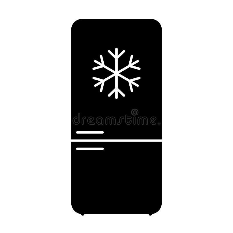 Lang koelkastpictogram met sneeuwvlok op het stock illustratie