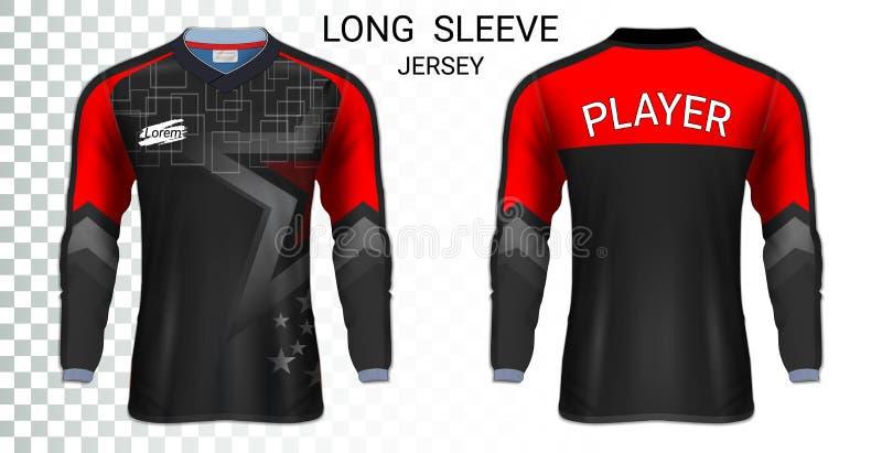 Lang kokervoetbal jerseys, het modelmalplaatje van de T-shirtsport vector illustratie