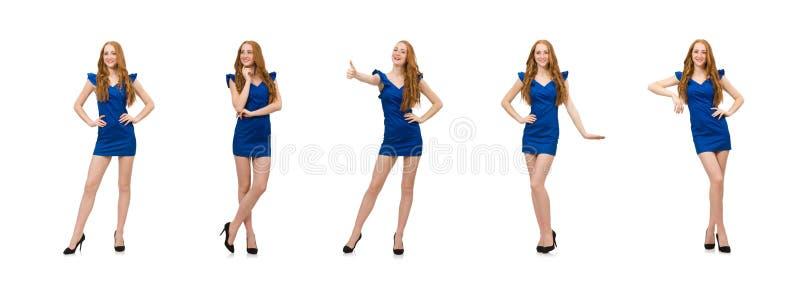 Lang model in blauwe die kleding op wit wordt ge?soleerd royalty-vrije stock afbeelding