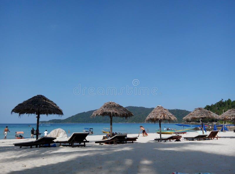 Lang mooi strand, stock afbeelding