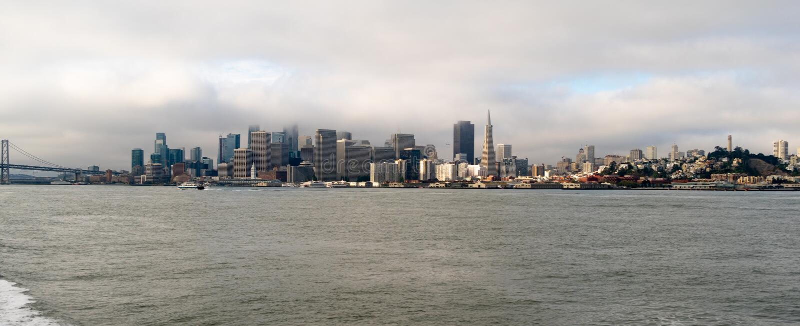 Lang Panorama San Francisco Fishermans Wharf City Skyline stock afbeeldingen