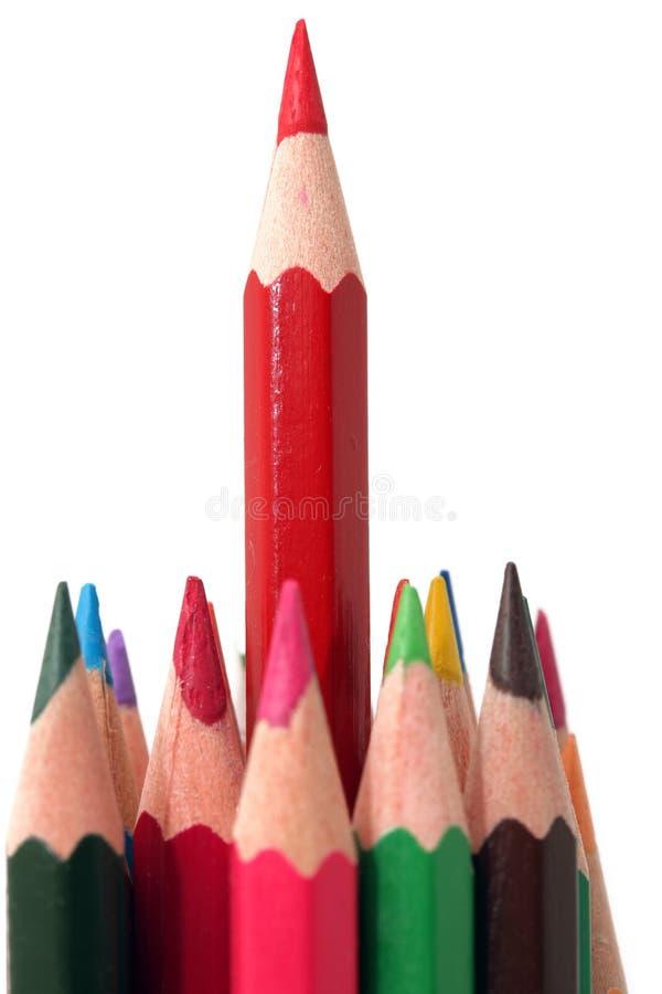 Lang rood potlood stock afbeelding