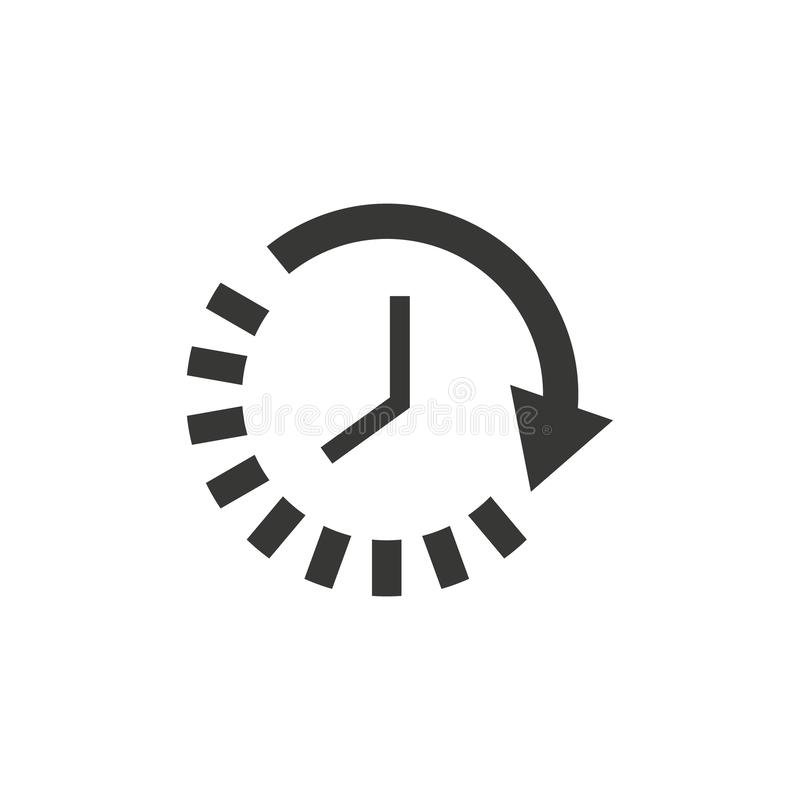 Lang schaduwontwerp Tijd en horloge, tijdopnemersymbool Ui web embleem App van het teken Vlakke ontwerp Voorraad Passage van tijd stock fotografie