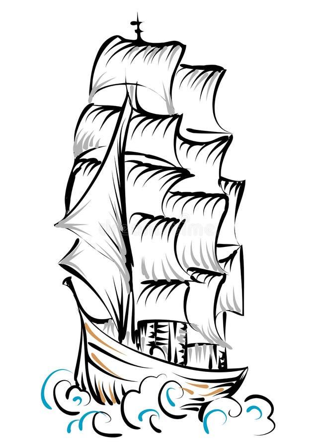 Lang Schip royalty-vrije illustratie