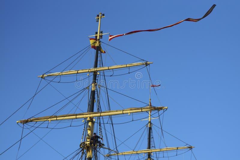 Lang Schip Denemarken bij Haven van Cadiz Spanje royalty-vrije stock afbeeldingen