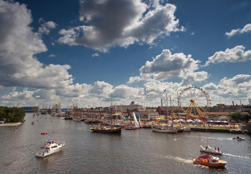 Lang Schip in Szczecin royalty-vrije stock fotografie