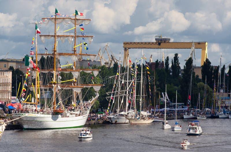 Lang Schip in Szczecin stock foto