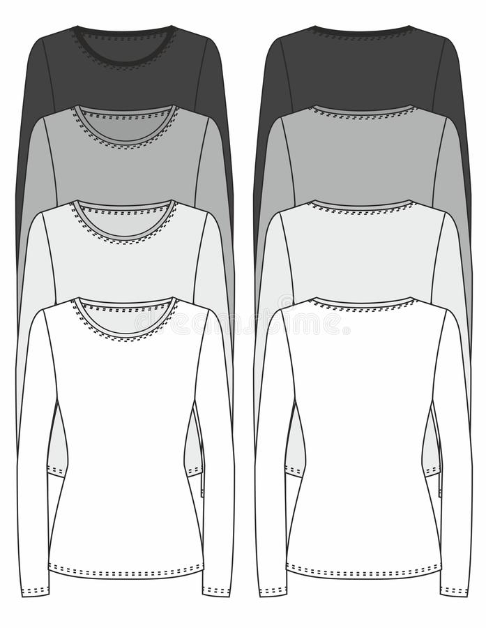 Lang-sleeved het ontwerpmalplaatje van de T-shirt stock illustratie