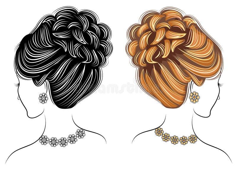 Lang vlechten creatief bruin die haar, op witte achtergrond wordt ge?soleerd Kapsels van een vrouw Reeks vectorillustraties stock illustratie