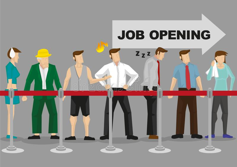 Lang Wachten in Lijn voor Job Employment Vector Illustration royalty-vrije illustratie