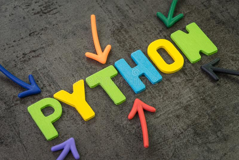 Langage de programmation moderne de python pour le développement de logiciel ou concept d'application, flèches multi de couleur i image libre de droits