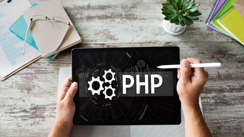 Langage de programmation de PHP Concept de Web et de développement d'applications photos libres de droits