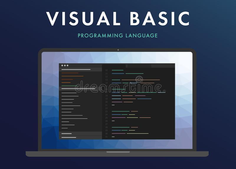 Langage de programmation de Visual Basic illustration de vecteur